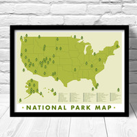National Park  Map, Print Outdoors Wall Art Hiking Art Print, Explorer map print, green home decor, hiking adventure art, 59 parks