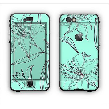 The Teal & Brown Thin Flower Pattern Apple iPhone 6 LifeProof Nuud Case Skin Set