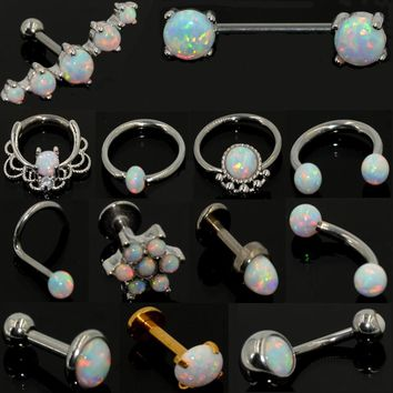 1pcs Stainless Steel Opal Stone Rings and Studs Body Jewelry