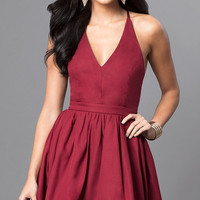 Lace Back Short V-Neck Homecoming Dress