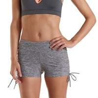 Black Combo Side-Cinched Space-Dye Workout Shorts by Charlotte Russe