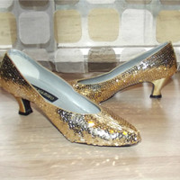 Vintage 80s Shoes | 1980s Sequin Pumps | Gold Sequin High Heels | Ann Marino | Size 8