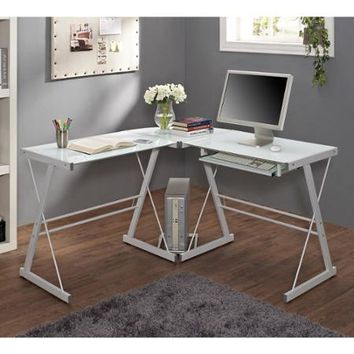 Glass and Metal Corner Computer Desk, Multiple Colors - Walmart.com