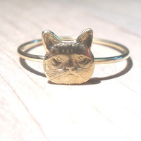 Grumpy Cat Ring - Layering Above the Knuckle Ring Gold Brass Stackable Midi Ring, cat knuckle ring, cat love, Gold cat ring, cat face ring