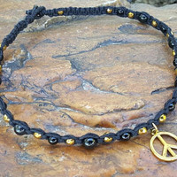 Hemp Necklace, Peace Sign Necklace, Handmade Jewelry, Black and Gold, Hemp Jewelry, Gift for Her, Gold Tone Peace Sign, Hemp, Jewelry, Peace