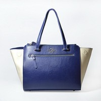 New Kate Spade Women Fashion Shopping Leather Tote Handbag Shoulder Bag Color Navy & Off White