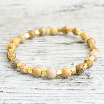 Brown jasper stone beaded stretchy bracelet with gold plated hematite cubes, custom made yoga bracelet, mens bracelet, womens bracelet