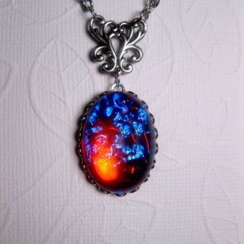 Dragon's Breath Mexican Opal Pendant Necklace