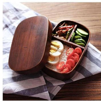 CREYXF7 Classic Japanese Style WoodenBento Lunch Boxes