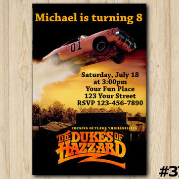 Dukes of Hazzard birthday invitation, Dukes of Hazzard Party, Dukes of Hazzard Birthday,custom invite (#379)