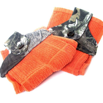Camo/Orange Hanging Kitchen Towels, hanging hand towels, camo hand towel, camo kitchen towel