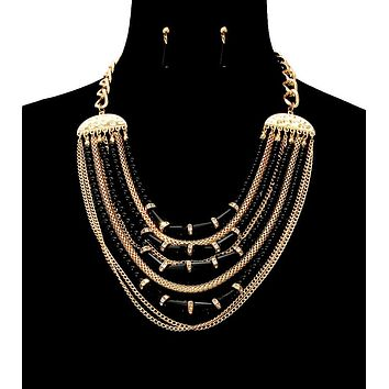 Gold Multi Strand Chain and Beads Layered Necklace Set with Rhinestone Slides