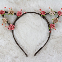 Rose Taupe Cat Ears - Flower Cat Headband - Cat Ears Headband - Kitty Ears -  Coachella Festival - Kitten Play Ears - Petplay - Kittenplay