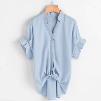 2018 Summer Casual Loose Chiffon Blouse Shirts Plus Size Women Ruffle Chiffon Summer Top Elegant Office Lady Work Wear Shirts