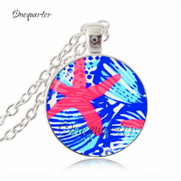 Women's Lilly Pulitzer Inspired Glass Dome Pendant Necklaces - Many Styles To Choose From