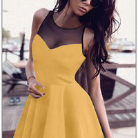 Yellow Sleeveless Mesh Panel Mini Skater Dress