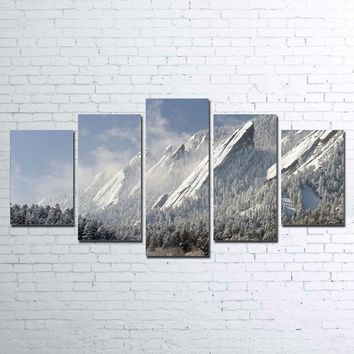 5 Pieces Flatirons Snow Mountain Mountains Wall Art Canvas Panel Print Picture
