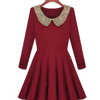 dark red dress with shining collar