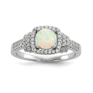 Sterling Silver Rhodium-plated CZ and Synthetic White Opal Ring