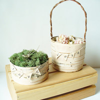 Flower Girl Basket and Ring Bearer Pillow Birch by jadenrainspired