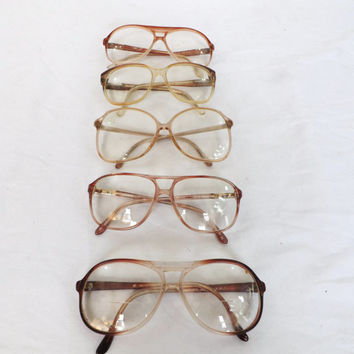 Lot of 5 Vintage 70s 80s Eyeglasses Clear Rimmed Retro Glasses Oval Oversized Square Frames Boho Hipster Mens Womens Spectacles Wholesale