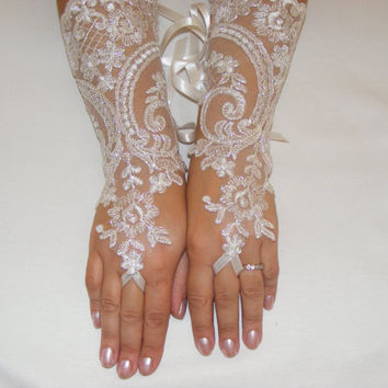 Ivory Lace Handmade Long Shiny Silver Threaded Fingerless Wedding Gloves With Satin Ribbons