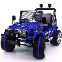 Jeep Wrangler Style 12V Kids Ride-On Car MP3 Battery Powered Wheels RC Remote | Spider Blue
