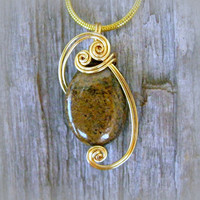 Bronzite Wire Wrapped Pendant Necklace in Gold Toned Silver Plate Wire