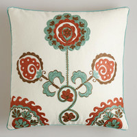 Aqua Embroidered Flower Throw Pillow