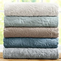 ISAAC FLORAL SCULPTED 600-GRAM WEIGHT BATH TOWELS