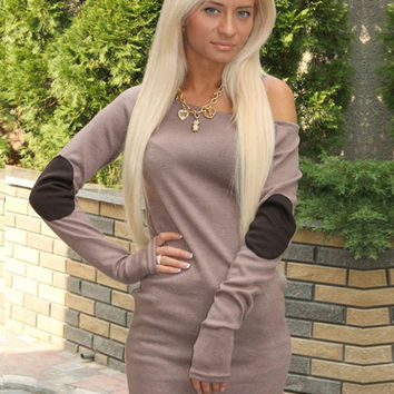 Off-shoulder Long Sleeve Mini Bodycon Dress