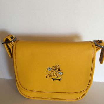 Disney X Coach Mickey Leather Patricia 23 Shoulder Bag Banana New with Tags