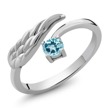 Ice Blue 925 Sterling Silver Wing Ring Natural Topaz Cut by Swarovski