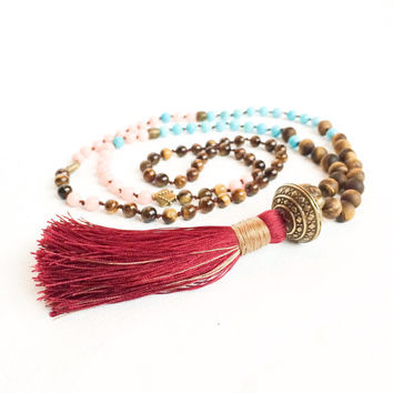 Boho Jewelry Tassel Necklace, Long Beaded Hippie Necklace, Mala, Necklace Tassel, Mala Beads, Bead Necklace with Tassel Pendant