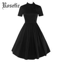 Gothic Dress Black Women Expansion Patchwork Button Pleated