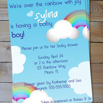 Rainbow Shower Invitation - Boy or Girl Over the Rainbow Printable Baby Shower Invitation
