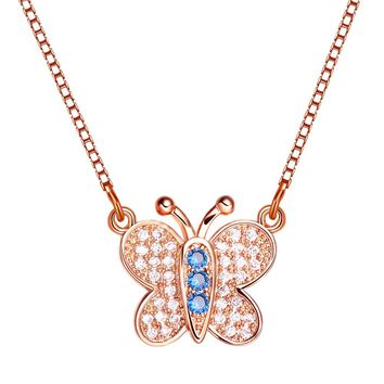 Small Cute Butterfly Lucky Charm Gold-Tone Amulet Royal Blue White Sparkling Crystals Necklace