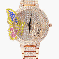 Butterfly Rhinestone Beaded Wrist Watch