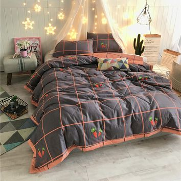 Papa&Mima Summer Comforter Set Solid Color Quilting Bedspread Twin Queen europe Size Polyester Stitching Bedcover Pillowcases