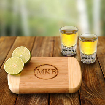 Personalized Bamboo Bar Board with 2 Shot Glasses, bar board , custom bar board , engraved bar board , cutting board , shot glass