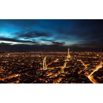 Paris At Night Skyline poster Metal Sign Wall Art 8in x 12in
