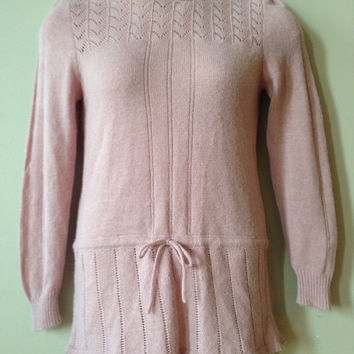Pretty Lilac Vintage Sweater with delicate Knit Long Tunic Purple Medium