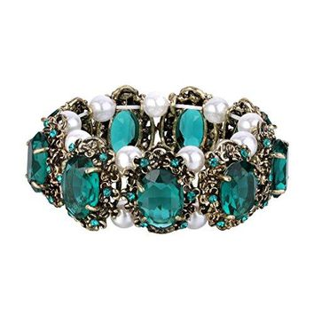 BriLove Womens Victorian Style Crystal Simulated Pearl Multi Floral Cameo Inspired Oval Stretch Bracelet