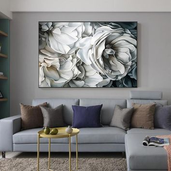 Nordic Big White Rose Canvas Painting Posters And Prints For Living Room  Bedroomodern Elegant Home Decoration Wall Art Pictures