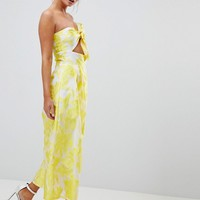 ASOS DESIGN Bandeau Jacquard Jumpsuit With Knot Detail at asos.com