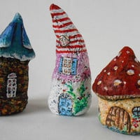 Miniature Hobbit Houses of Paper Mache