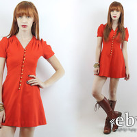 Vintage 70s Red Puff Sleeve Babydoll Dress XXS XS Hippie Dress Hippy Dress Puff Sleeve Dress Red Mini Dress Red Dress Dolly Dress 70s Dress
