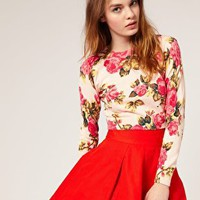 ASOS | ASOS Floral Printed Cropped Sweater at ASOS