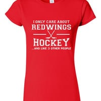 SALE ITEM!! I only care about the Red Wings and like 3 other people shirt, fan shirt, hockey t shirt, hockey gift