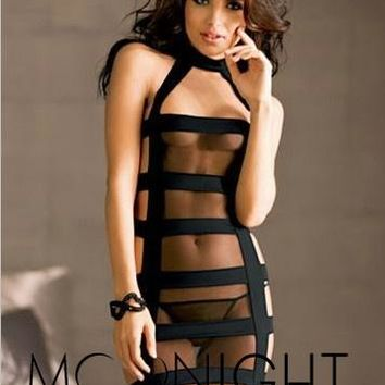 MOONIGHT New Sexy Evening Strap Transparent Dress